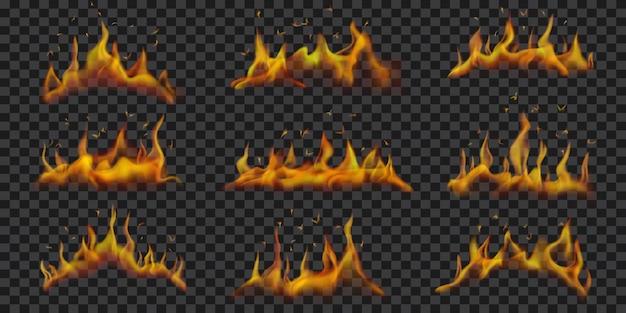 Conjunto de chamas horizontais translúcidas em transparente