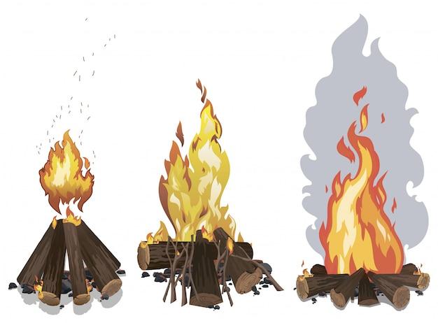 Conjunto de chamas. uma coleção de incêndios estilizados. ilustrações para o clipart.