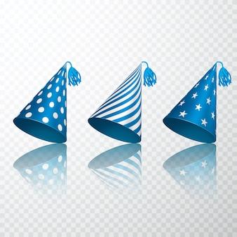 Conjunto de chapéu azul de aniversário