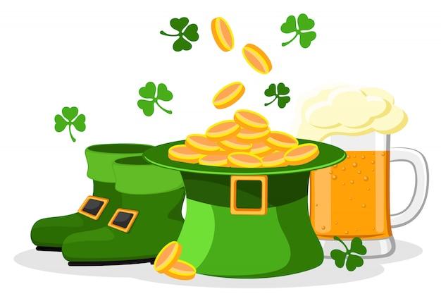 Conjunto de chapéu com dinheiro, cerveja e detalhe de botas de salto em um branco. feliz dia de st.patrick