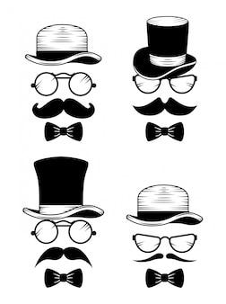 Conjunto de chapéu com óculos e bigode