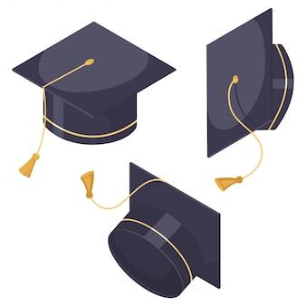 Conjunto de chapéu de formatura. ícones de tampa plana dos desenhos animados em posições diferentes, isolados no fundo branco.