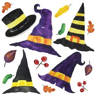 Conjunto de chapéu de halloween em aquarela.