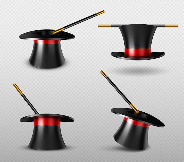 Conjunto de chapéu de mágico e varinha mágica