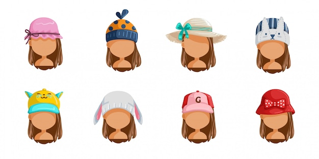 Conjunto de chapéu de menina. coleção de rostos femininos. userpics de crianças de estilo de cabelo diferentes.