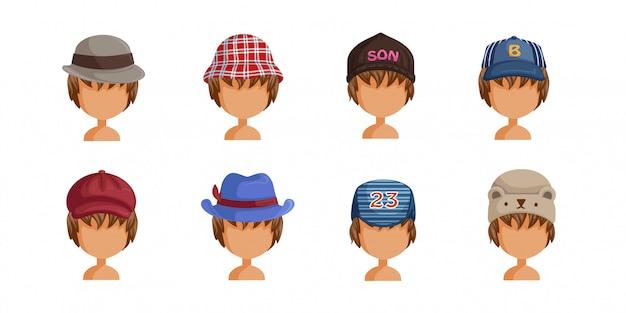 Conjunto de chapéu de menino. coleção de rostos de menino. userpics de crianças de estilo de cabelo diferentes.