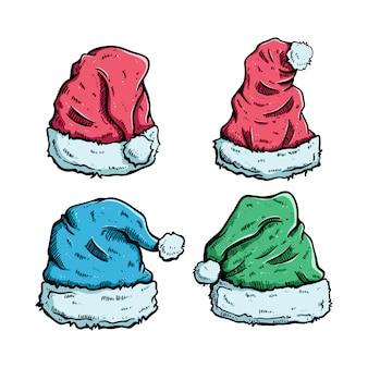 Conjunto de chapéu de natal com estilo colorido mão desenhada