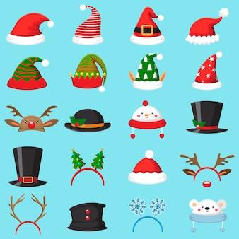 Conjunto de chapéu de natal dos desenhos animados