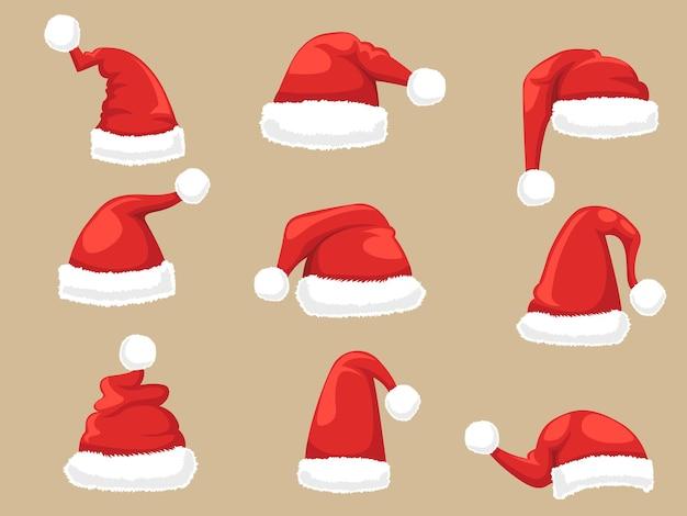 Conjunto de chapéu de papai noel. coleção de chapéus de natal e ano novo. ilustração vetorial.