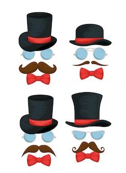 Conjunto de chapéu masculino com óculos, gravatas e bigodes