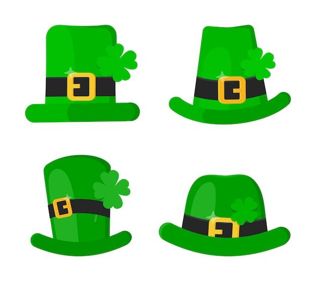 Conjunto de chapéu verde de duende do dia de são patrício