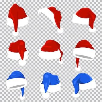 Conjunto de chapéu vermelho e azul de papai noel