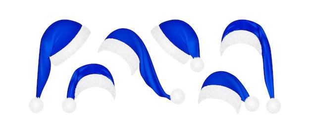 Conjunto de chapéus azuis de natal papai noel