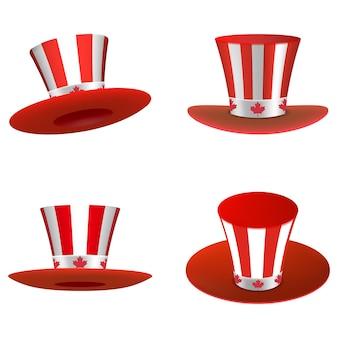 Conjunto de chapéus brancos e vermelhos com folhas vermelhas