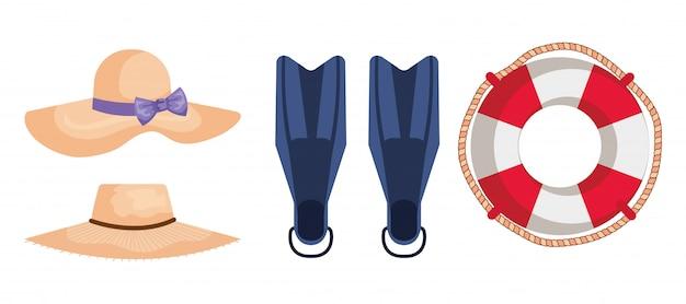 Conjunto de chapéus com equipamento de água de nadadeira e flutuar