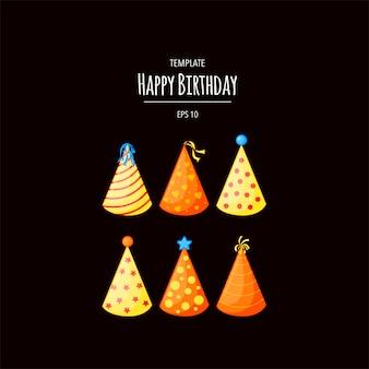 Conjunto de chapéus de aniversário. . ilustração. -