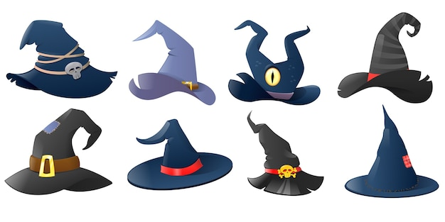 Conjunto de chapéus de bruxa de desenho animado
