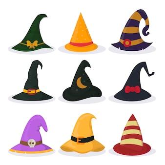 Conjunto de chapéus de bruxa de halloween isolado