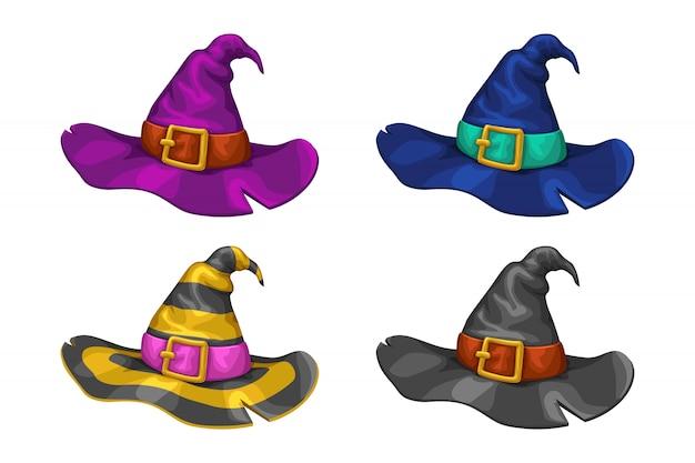 Conjunto de chapéus de bruxa