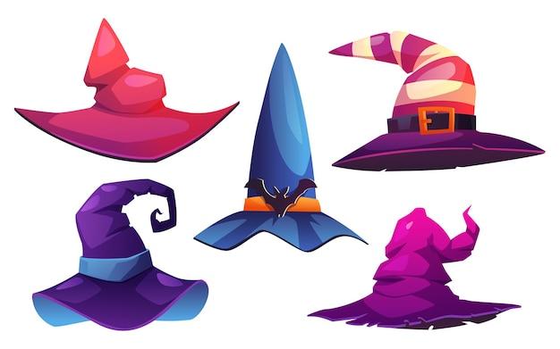 Conjunto de chapéus de bruxas e bruxas isolado com chapéus pontiagudos decorados com fivelas e cintos