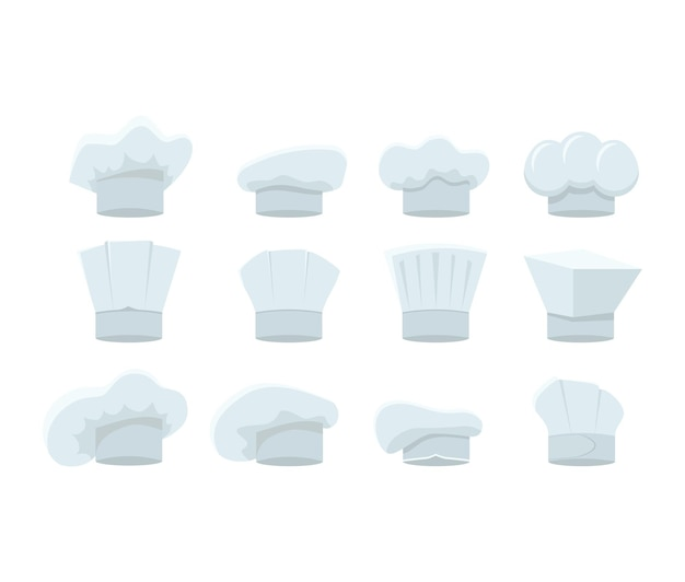 Conjunto de chapéus de chef branco