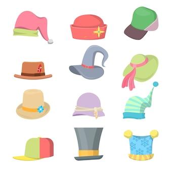 Conjunto de chapéus de coleção de headwear.