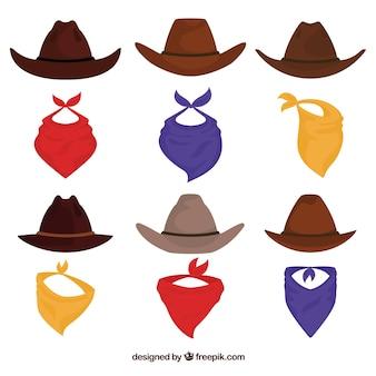 Conjunto de chapéus de cowboy e cachecol