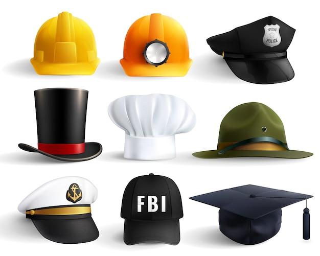 Conjunto de chapéus de diferentes profissões