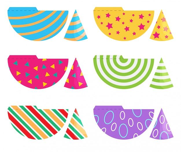 Conjunto de chapéus de festa de aniversário. modelo de cones de vetor com decoração bonita. imprimir e cortar