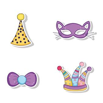 Conjunto de chapéus de festa e máscara de gato com estilo de laço de fita