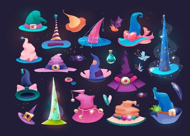 Conjunto de chapéus de mago, bruxa de chapéu velho no dia das bruxas.