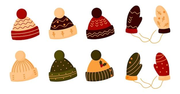 Conjunto de chapéus de malha lisos, luvas. boné aconchegante de inverno com pompom.