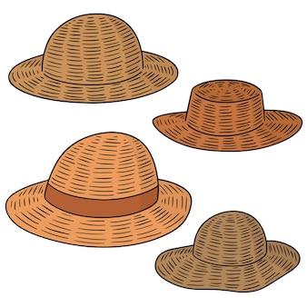 Conjunto de chapéus de palha