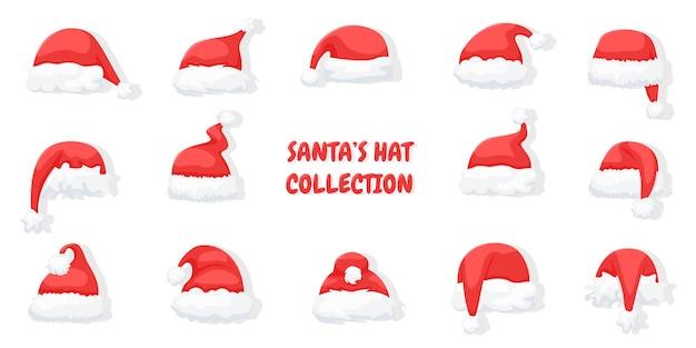Conjunto de chapéus de papai noel isolado no branco