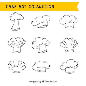 Conjunto de chapéus do cozinheiro chefe com projetos diferentes
