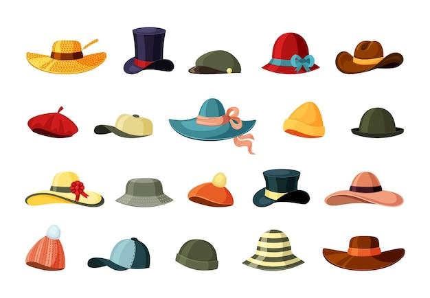 Conjunto de chapéus e bonés coloridos.