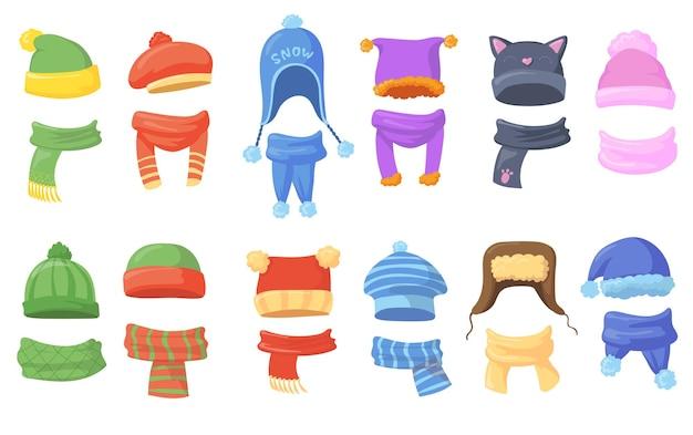 Conjunto de chapéus e lenços quentes para ilustrações de inverno