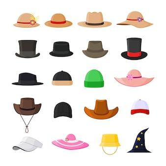 Conjunto de chapéus em vários modelos elegantes vintage e apartamento moderno