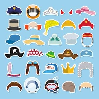 Conjunto de chapéus engraçados e bonés