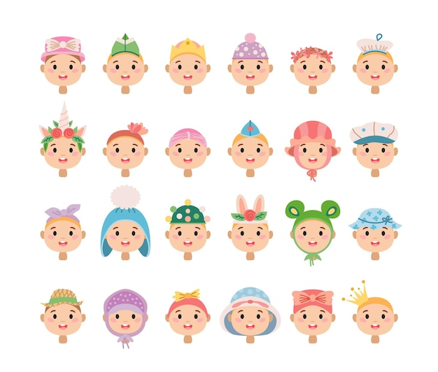 Conjunto de chapéus infantis de desenho animado