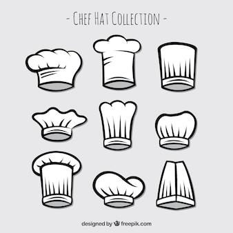 Conjunto de chapéus tirados mão do cozinheiro chefe