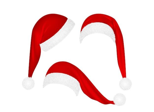 Conjunto de chapéus vermelhos de papai noel de natal