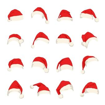 Conjunto de chapéus vermelhos de papai noel.