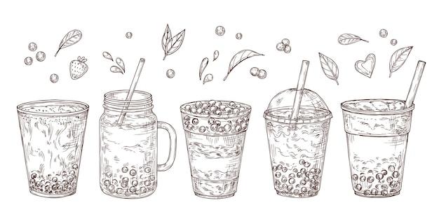 Conjunto de chás de bolhas