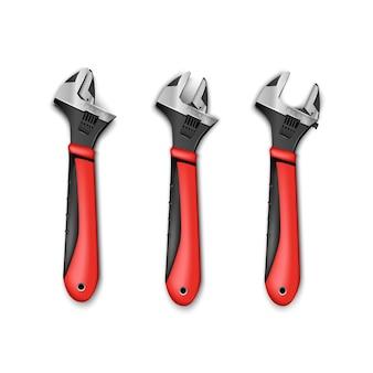 Conjunto de chave ajustável do instrumento mestre do encanador com alças vermelhas. isolado no fundo branco.