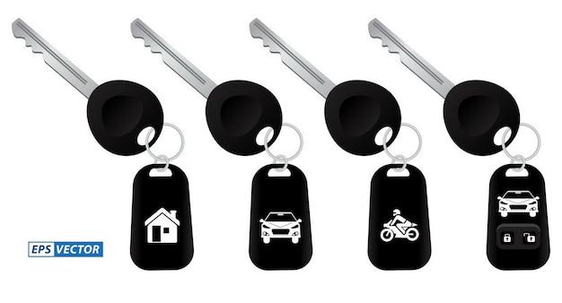 Conjunto de chave de carro realista com sistema de alarme ou chave de carro com controle remoto ou controle remoto seguro