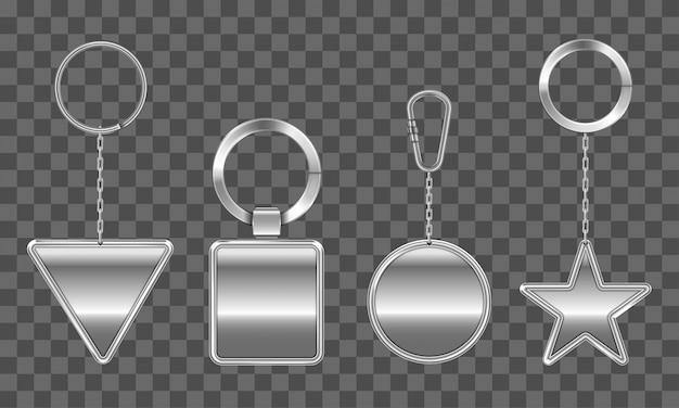 Conjunto de chaveiros. metal redondo, quadrado, triângulo, estrela