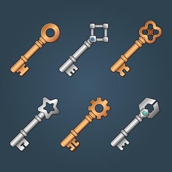 Conjunto de chaves de bronze e prata