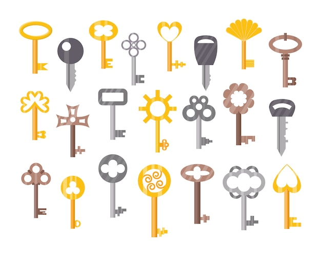 Conjunto de chaves de porta vintage ou antigo