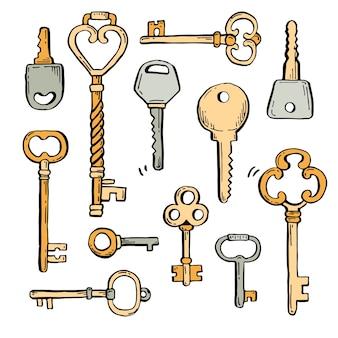 Conjunto de chaves desenhadas à mão